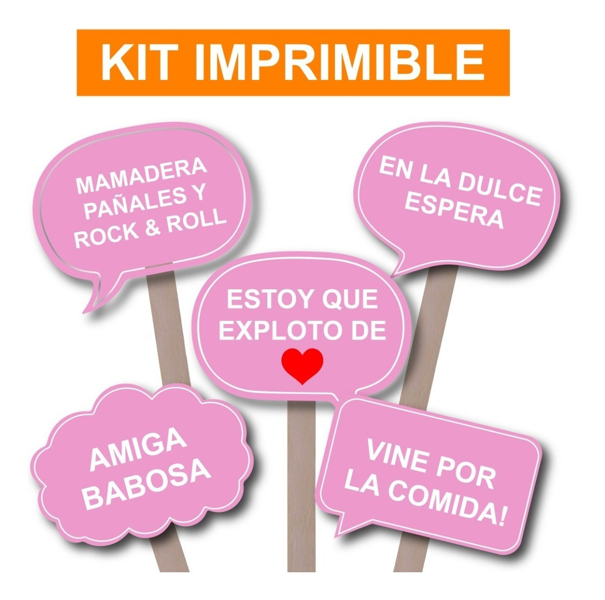 Photo Props Baby Shower Nena Imprimible Carteles C Frases