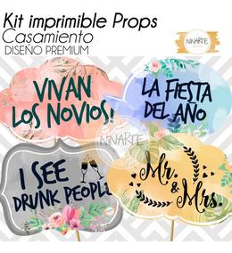 Kit Casamiento Imprimible Cartelitos Frases Foto Props Boda