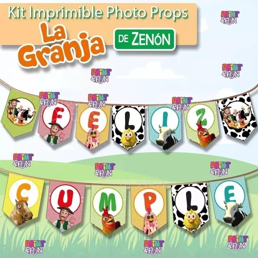 Photo Props Granja Zenon Kit Imprimible Banderines Cumple 2