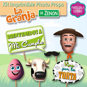 Photo Props Granja Zenon Kit Imprimible Banderines Cumple