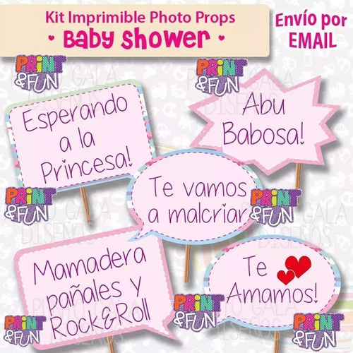 photo props imprimible baby shower nena cartelitos fotos 2x1
