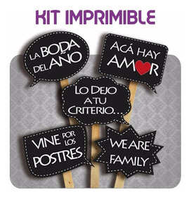 Photoprops Casamiento Boda Imprimible 24 Cartelitos C Frases