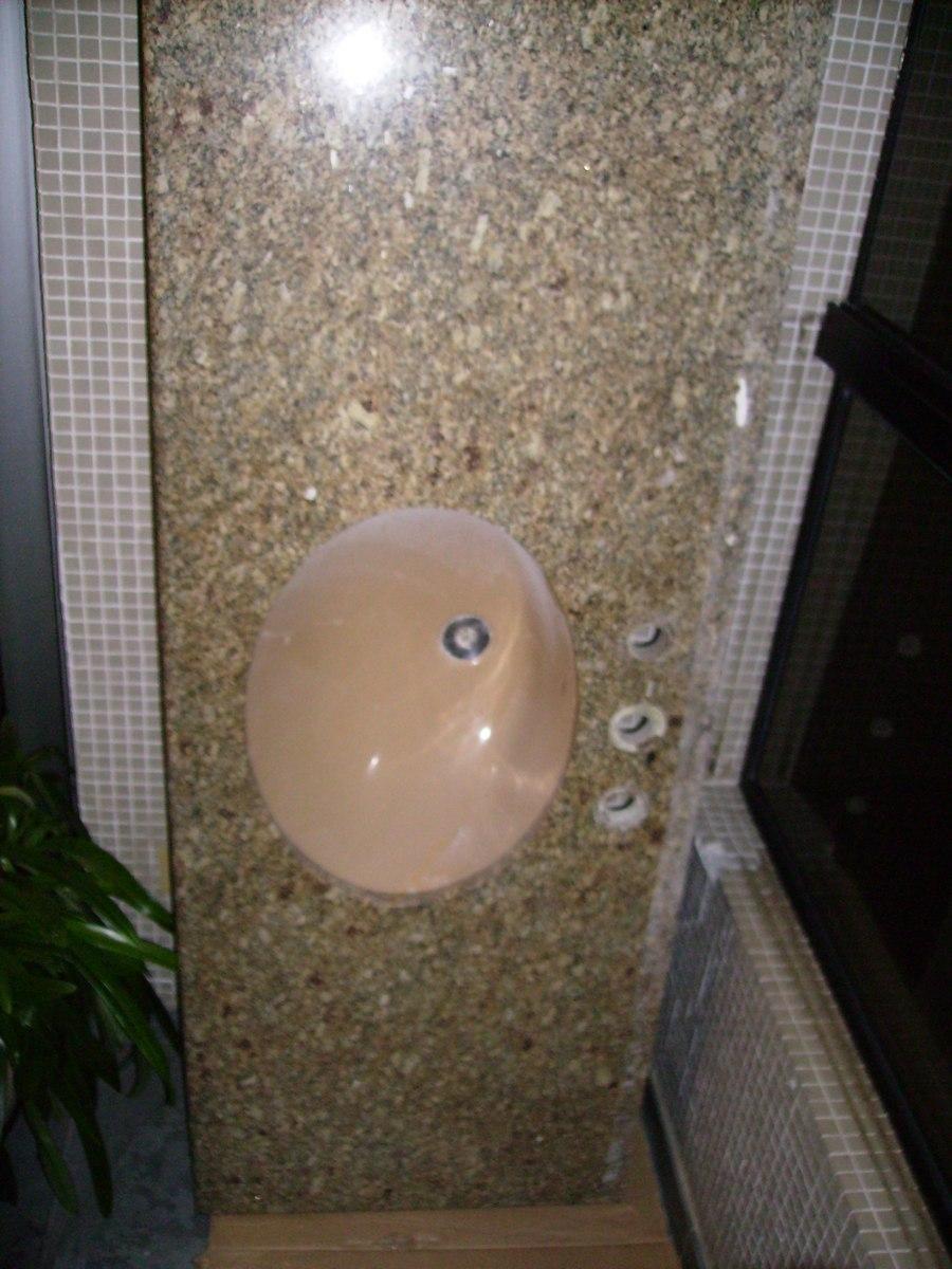 Pia Bancada De Granito Para Banheiro Com Cuba  R$ 250,00 em Mercado Livre -> Pia Para Banheiro Mercado Livre