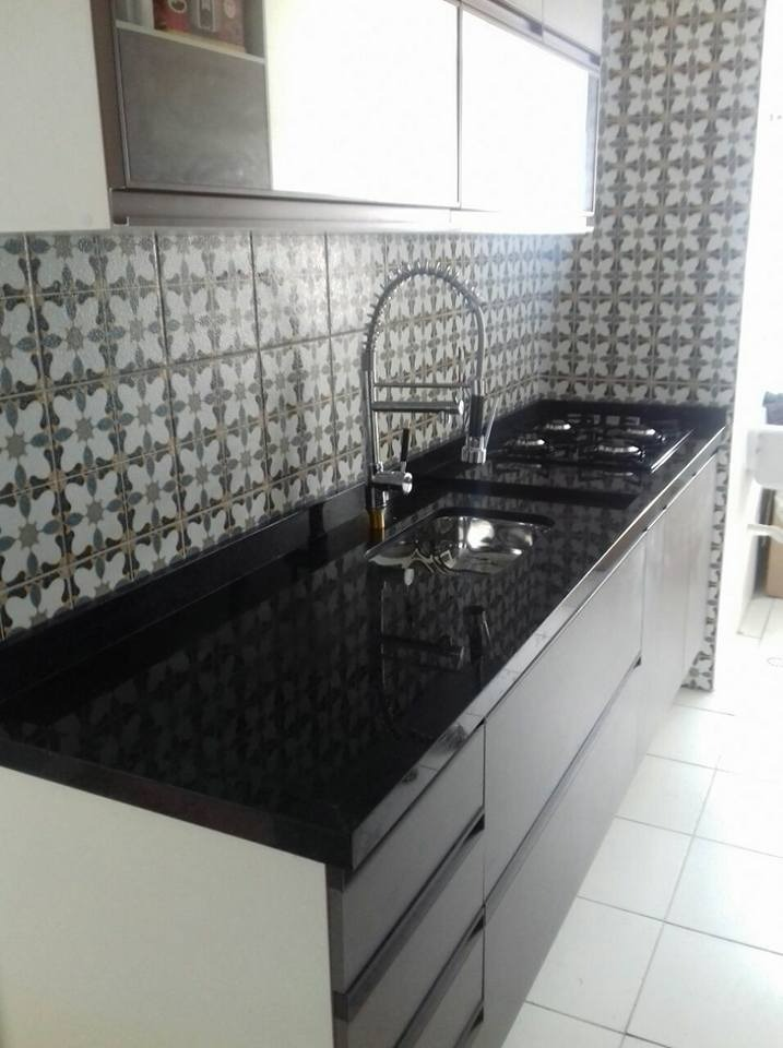 Pia De Granito Cozinha Preto São Gabriel Com Cuba De Inox R 1600