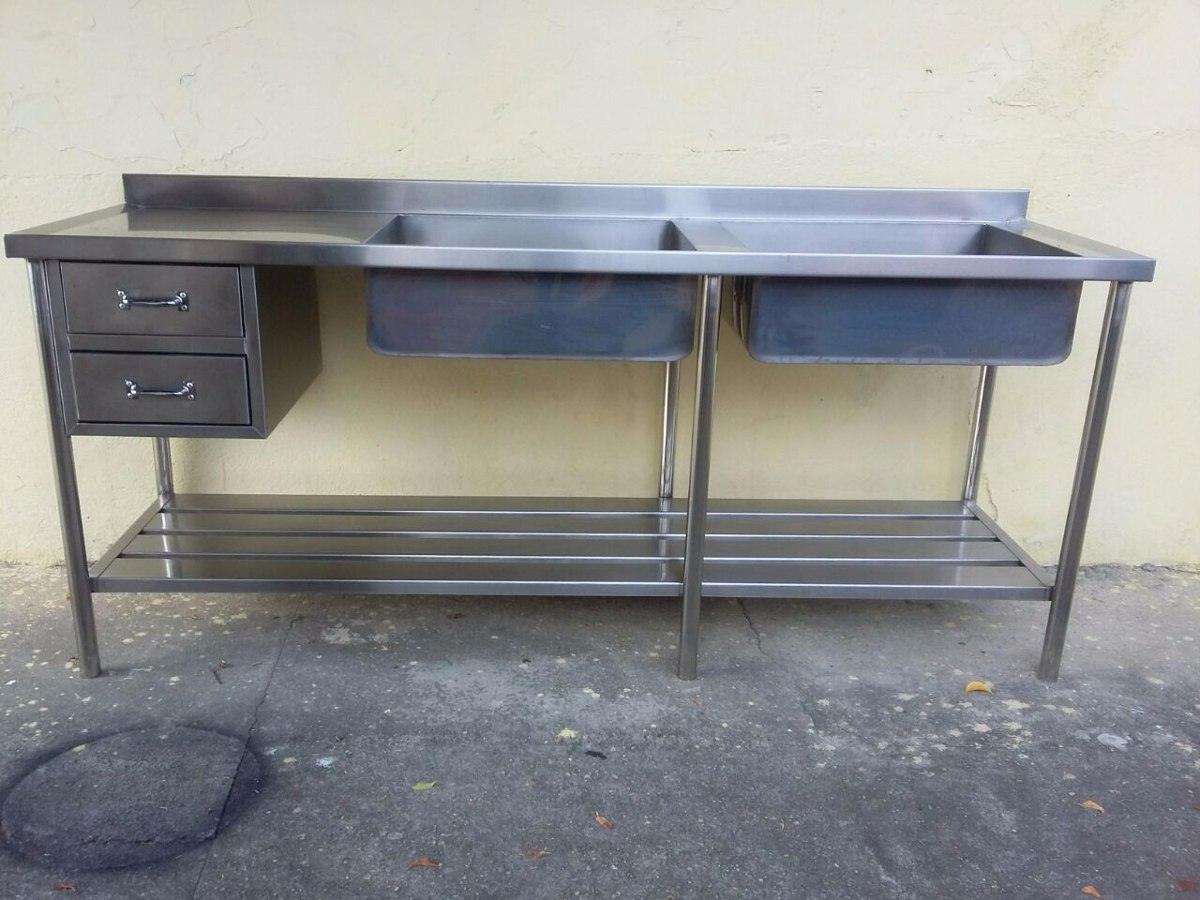 Pia Industrial 1900x600x900 Com Duas Cubas R 2 800 00 Em Mercado