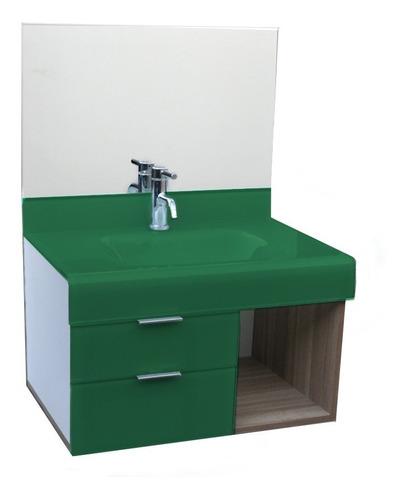 pia p/ banheiro lavatório em vidro stetiun 60 x 46 cm verde