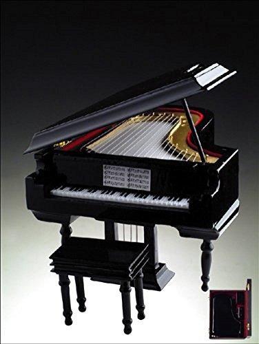 piano de cola caja de musica de madera negra 18 nota mecanic