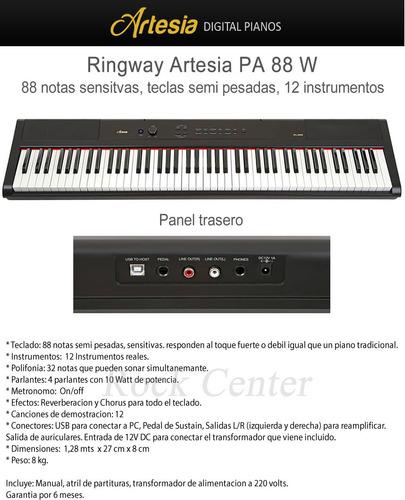 piano digital artesia pa 88w teclas semipesadas, pedal