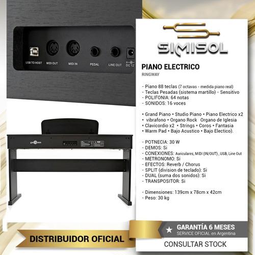 piano digital electrico ringway 88 teclas c/ peso + banqueta