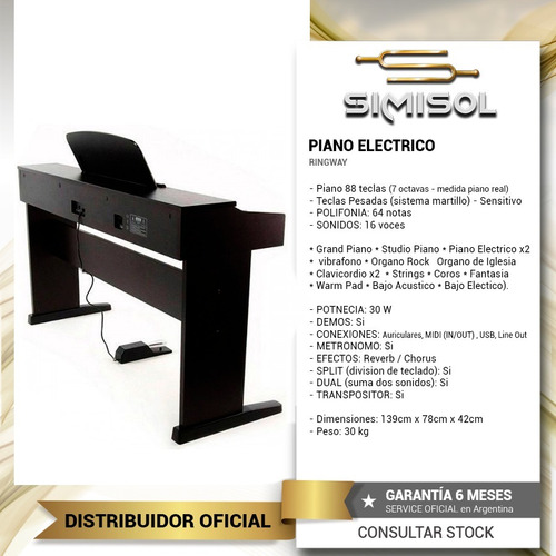 piano digital electrico ringway 88 teclas con peso + cuotas