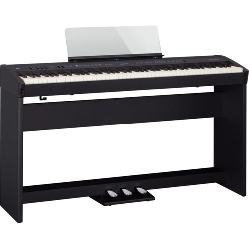 piano digital fp-60, con stand y pedales, negro, roland
