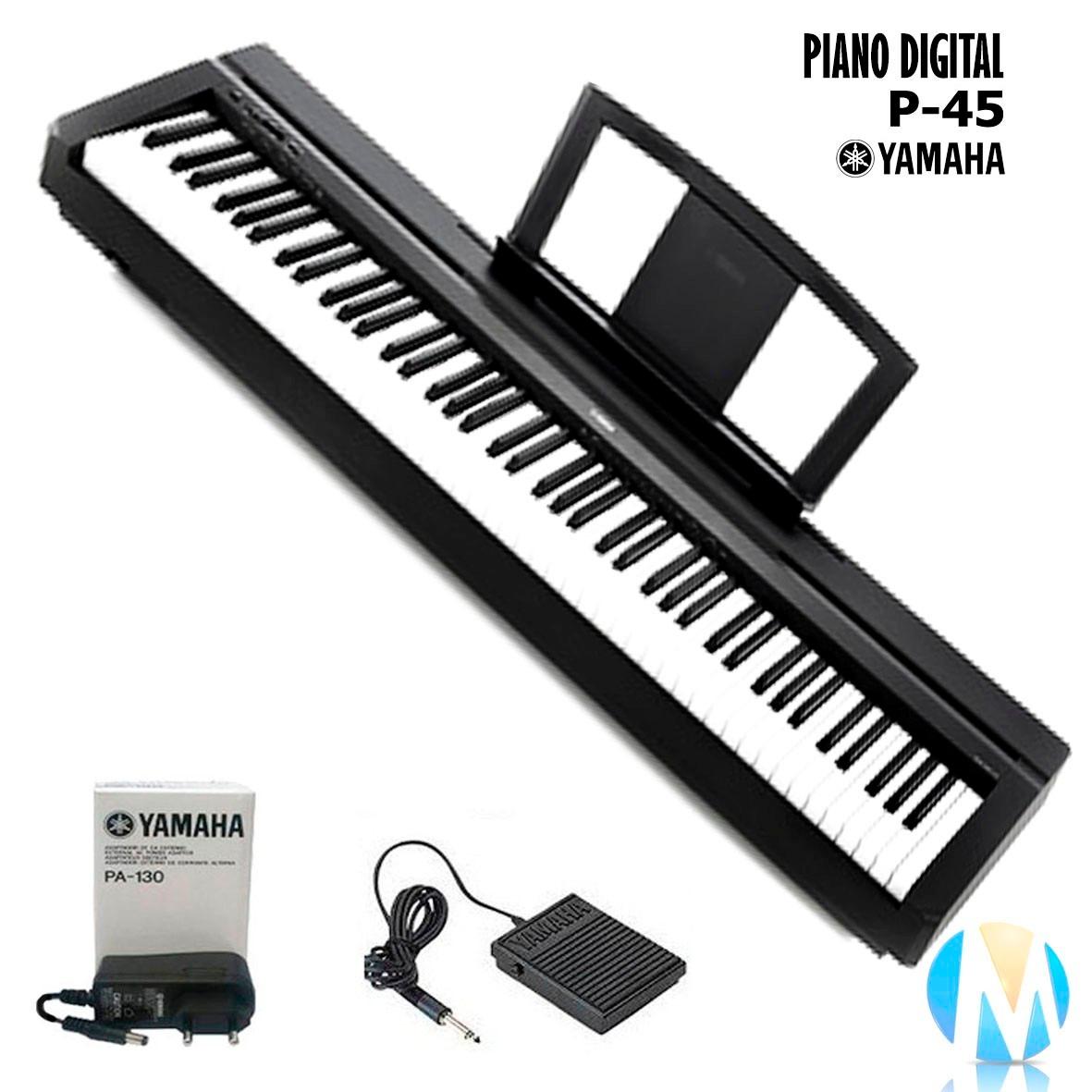 Piano digital yamaha p 45 com fonte pedal sustain r 2 for Yamaha p 45b