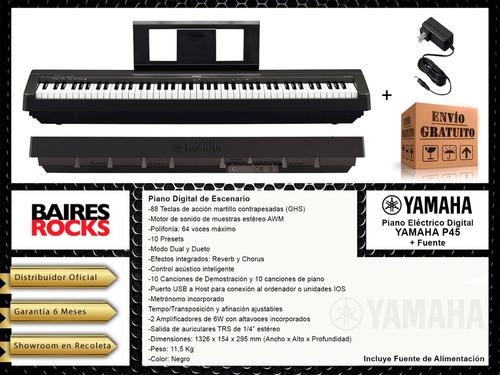 piano electrico digital yamaha p45 + fuente + envio