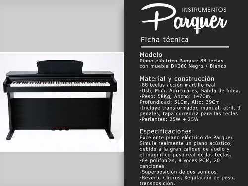 piano eléctrico parquer 88 teclas peso martillo mueble negro