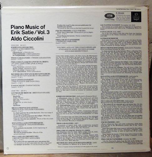 piano music of erik satie vol. 3 (vinilo) aldo ciccolini