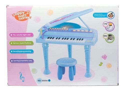 piano sinfonia infantil gravador banquinho microfone azul