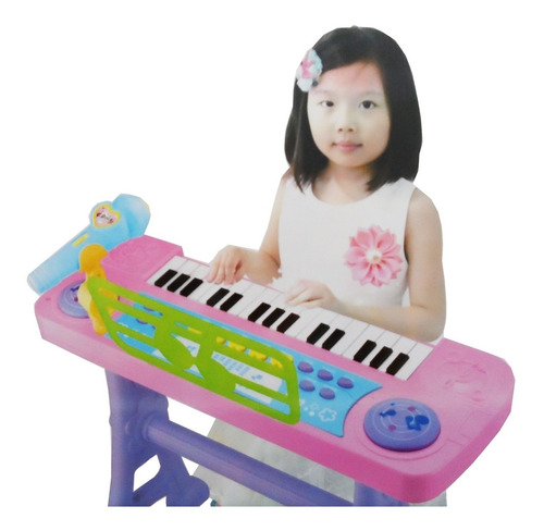 piano teclado infantil microfone gravador e banquinho rosa