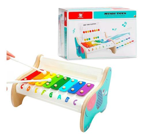 piano xilofon elefante de madera juego didactico top bright