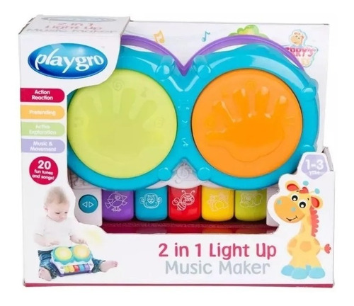 piano y bateria infantil 2 en 1 light up music playgro full
