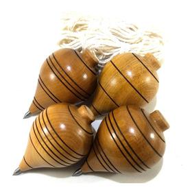 Pião De Madeira Brinquedo Antigo Lote Com 4 Unidades