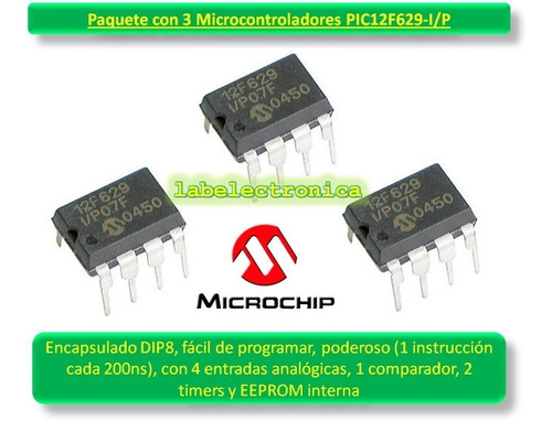 pic12f629 -i/p paquete x3 pic, adc, eeprom, timers microchip