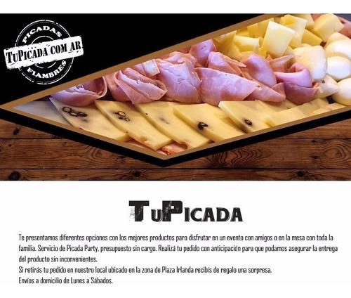 picada artesanal - comen 4 pican 6 - fiambre - jamon - queso