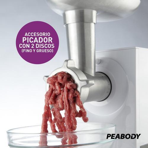 picadora carne rallador embutidor eléct peabody mg2550b