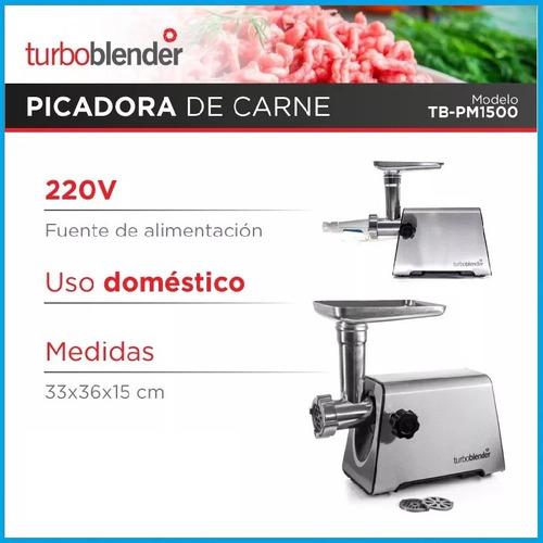 picadora carne turboblender tb-pm1500 acero inoxidable 3 discos pica, embute, tritura