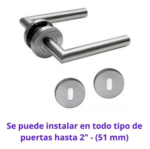 picaporte manija puerta acero inox retroceso cilindrica