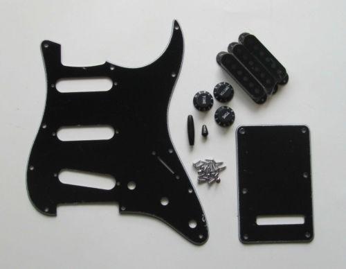 pickguard stratocaster sss 11 pernos negro + accesorios