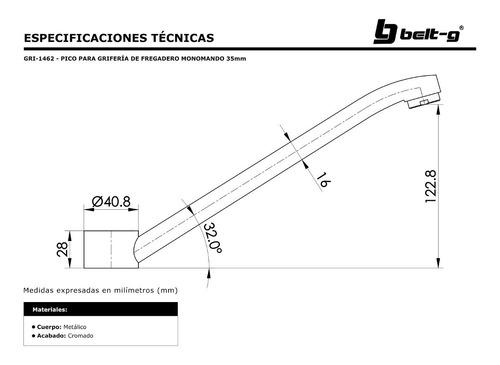 pico para griferia fregadero monomando 35mm belt-g gri-1462