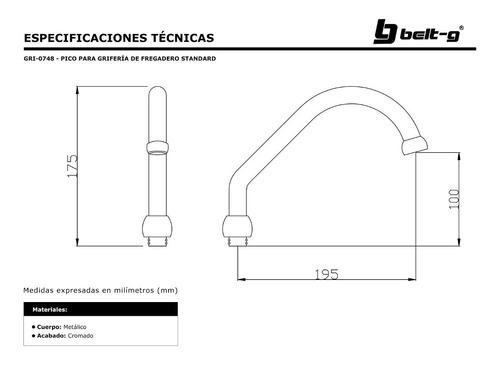 pico para griferia fregadero std. belt-g gri-0748
