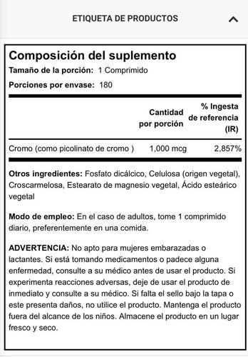 picolinato de cromo 1000 mcg sobrepeso adelgazar 180 tabs
