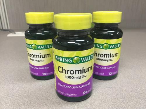 picolinato de cromo, 1000mcg, 100 pastillas, spring valley