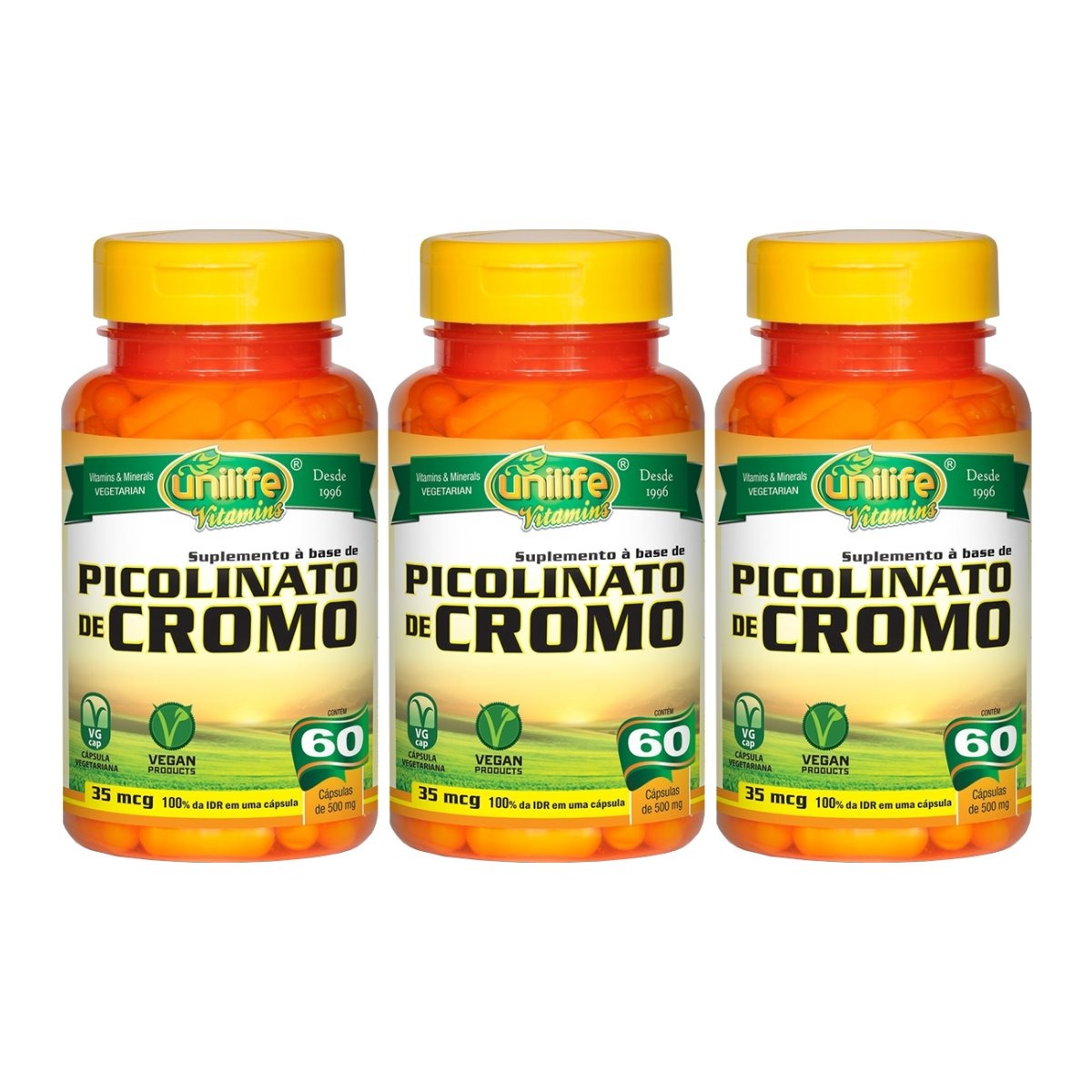 Picolinato De Cromo 60 Cápsulas 500mg Unilife Kit 3 Unidades