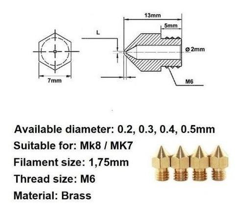 picos nozzle mk8 0.2mm rosca m6 alta calidad