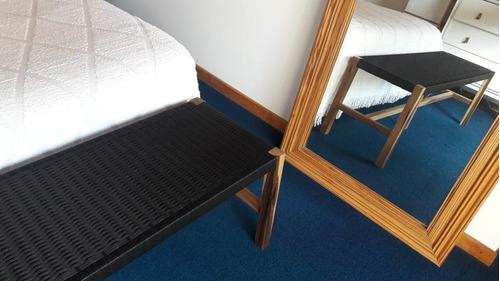 pie de cama banco encordado tejido
