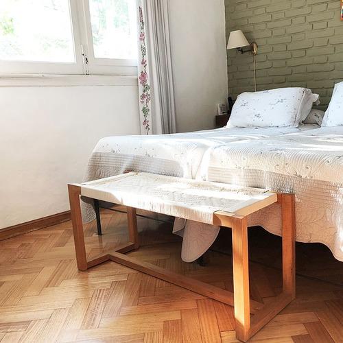 pie de cama banqueta madera encordada