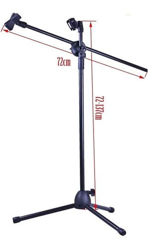 pie de micrófono doble jirafa stand pro metálica + 2 pipetas