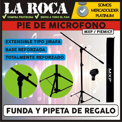 pie de microfono doble reforazazo venetian ms-50b la roca