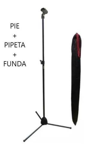 pie de micrófono recto c/ funda soporte negro pro stands