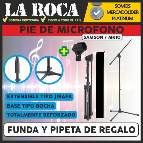 pie de microfono reforzado jirafa samson mk10 funda y pipeta