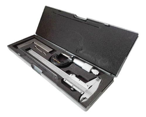 pie de rey 150 mm+ micrometro 0-25x0.01mm + regla + escuadra