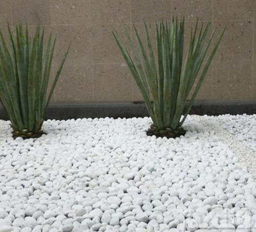piedra decorativa  bola blanca de rio saco de 40 kilos