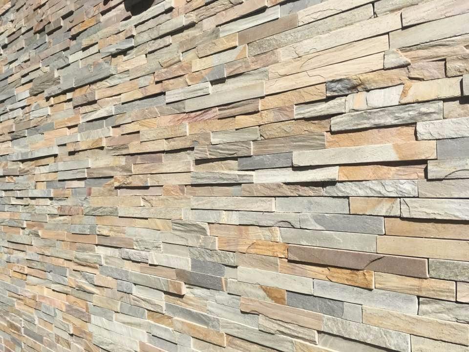 Piedra laja clara en listones de 3 cm industria uruguaya Pared de piedra precio
