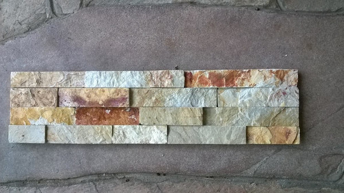 piedra natural beige en paneles de 15 x 60 cm revestimiento