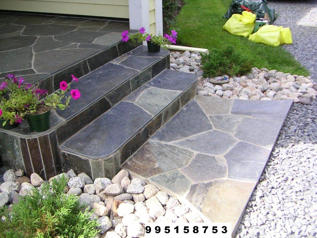 Piedras laja revestimiento piso escalera z calo jardinera for Escalera exterior de piedra