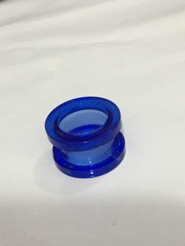piercing alargador acrílico tamanho 14mm azul transparente