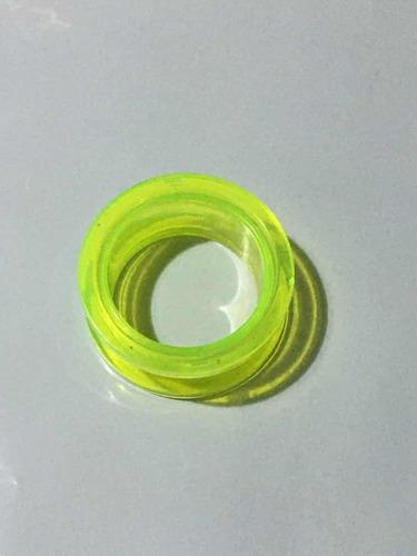 piercing alargador acrílico transparente verde 20mm