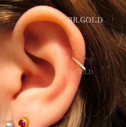 piercing argola indiana com zircônias e banho de ouro nariz